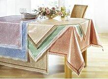 Wachstuch-Tischdecke mit Häkelborte, verschiedene
