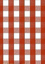 Wachstuch Tischdecke Rollenware 20 Meter Rolle x 140 cm Breite kariert rot 63-5