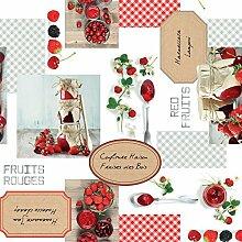 Wachstuch Tischdecke Rollenware 21 Meter Rolle x 160 cm Breite Red Fruits C177340