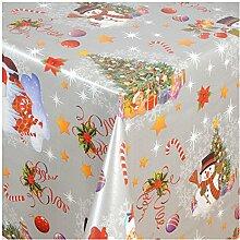 """Wachstuch Tischdecke Wachstischdecke Gartentischdecke, Abwaschbar Meterware, Länge wählbar,""""Silver Christmas"""" Weihnachtsdecke in Silberglanz (188-02) 240cm x 140cm"""