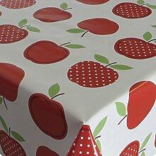 Wachstuch Tischdecke Wachstischdecke Gartentischdecke Apfel Mela Rot · Eckig 90x150 cm · Länge & Breite wählbar· abwaschbare Tischdecke