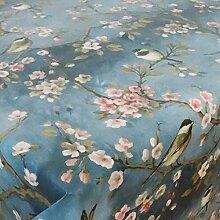Wachstuch Vogel Blau Glatt · Eckig 110x140 cm · Länge wählbar· abwaschbare Tischdecke