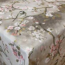 Wachstuch Vogel Grau· Eckig 125x310 cm · Länge wählbar· abwaschbare Tischdecke