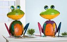 Wackel Frosch 'Willi', 37 cm, antik-bunt, sortier