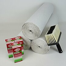 WACOLIT-SET 3 Rollen á 33,5m ERFURT RAUHFASER 52 Körnung 53,25m² inkl. 3x Spezial Kleister + Quast, Rauhfasertapete Rauhfaser Tapete