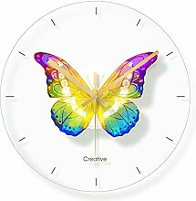 WADCRmgyx Farbe Schmetterling Glas Wanduhr Für