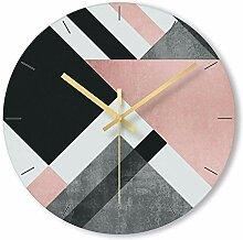 WADCRmgyx Geometrische Art Mute Glas Wanduhr für