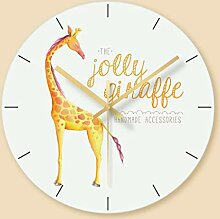 WADCRmgyx Giraffe Glas Wanduhr Kreative Rahmenlose
