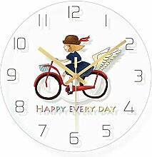 WADCRmgyx Glas wanduhr Cartoon Fahrrad mädchen