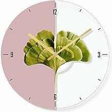 WADCRmgyx Grünes Blatt Pflanze Glas wanduhr