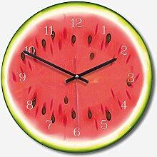 WADCRmgyx Kreative Obst Wassermelone Glas Wanduhr