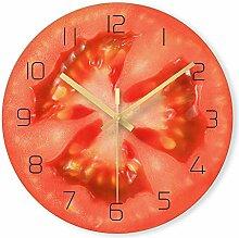 WADCRmgyx Tomaten Obst Dekorative Glas Wanduhren