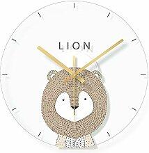 WADCRmgyx Transparente Glas wanduhr Cartoon Lion