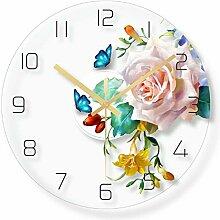 WADCRmgyx Tropische Blume Glas Wanduhr Home Decor