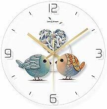 WADCRmgyx Vogel Federn Glas Wanduhr Kunst