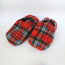 Wärmende Hausschuhe Kirschkernkissen Fußwärmer Massage Fußbett rot Schottenkaro–hergestellt in Emilia Romagna