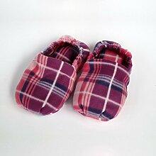 Wärmende Hausschuhe Kirschkernkissen Fußwärmer Massage Fußbett Pink Schottenkaro–hergestellt in Emilia Romagna
