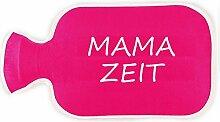 Wärmflaschenbezug UND Wärmflasche Mama Zeit ★ Geschenk Geschenkidee Mütter Frau Schwangerschaft Geburt Kind Muttertag ★ (pink)