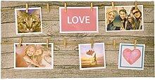Wäscheleine Fotohalter mit 12 Holzklammern - Memohalter