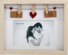 Wäscheleine-Fotorahmen aus Holz mit Klammern für