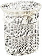 Wäschepuff oval weiß aus Vollweide, Maße: 53x43x60cm - Wäschetruhe, Wäschekorb