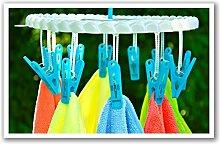 Wäschespinne aus Kunststoff Blau - Weiß rund - 2