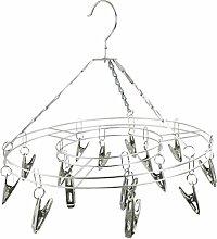 Waeschestaender Hanger - SODIAL(R) Runde Edelstahl rahmen 15 Pegs Waeschestaender Kleiderbuegel Silber