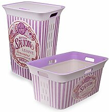 Wäschetruhe Set Wäschekorb Wäschepuff mit Belüftung Moda Savon 60 Liter mit Deckel + 45 Liter Wäschesammler mit 4 Griffen