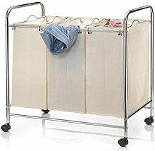 Wäschewagen KATJA Wäschekorb auf Rollen Wäschesortierer mit 3 Fächern Metallgestell verchrom