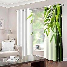 WAFJJ Thermo-Verdunklungsvorhänge Grün & Bambus