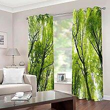 WAFJJ Vorhang Blickdicht Grün & Wald