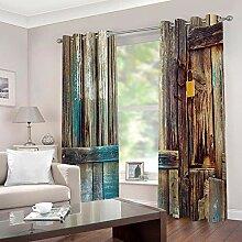 WAFJJ Vorhang Blickdicht Vintage & Holz