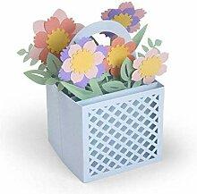 Wagen Mit Blumen 3d - Schneiden von Metall-Vorlage