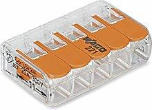 Wago Verbindungsklemme 5-Leiter compact mit Betätigungshebel, 0,14-4 qmm, orange, 221-415