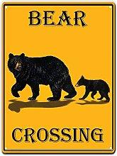 WAHAH Bear Crossing Blechschild Metall Neuheit