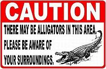 WAHAH Caution Crocodile Blechschild Metall Neuheit