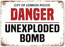 WAHAH Danger Bomb Blechschild Metall Neuheit Retro