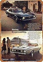 WAHAH Ford Mustang Mach Blechschild Metall Neuheit