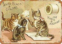 WAHAH Four Cat Blechschild Metall Neuheit Retro