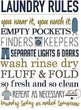 WAHAH Laundry Rules Blechschild Metall Neuheit