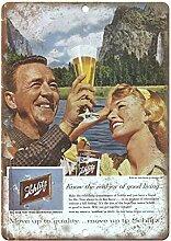 WAHAH Schlitz Beer Blechschild Metall Neuheit