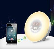 Wake up Light, Kaifire Alarmlampe mit Funktion Snooze Wecker und FM Radio und Bluetooth-Freisprechfunktion , Wake-up Light LED D?mmerung Simulator und D?mmerung Wake-up Ligh