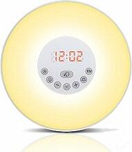 Wake-up Light LED Lichtwecker, Aufwachen mit Licht, verschiedene Farben, Dimmstufen, Wecktöne und Sonnenaufgangsfunktion Radio NEU