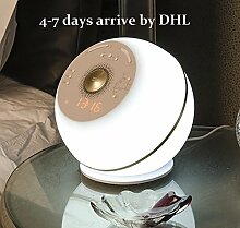 Wake Up Light With Colored Sunrise Simulation ,Alarm Clock & Radio& Speaker ,LED Table Lamp ,Led Night Light ,4 in 1,White DHL delivery ,4-7days arrive by Vanmengeo