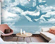 Wal im blauen Himmel Tapete Vlies Tapete 3D-Effekt