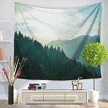Wald Berge Himmel Wandteppich Wandbehang Natur