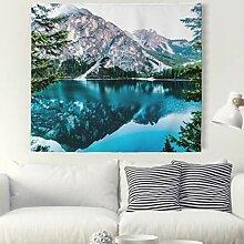 Wald Berge Wasser Wandteppich Natur Landschaft