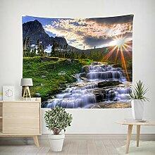 Wald Berge Wasserfall Wandteppich Natur Landschaft