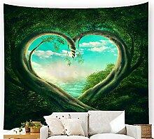 Wald Dschungel Herz Wandteppich Fantasy Natur