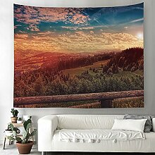 Wald Dschungel Sonnenuntergang Wandteppich Natur